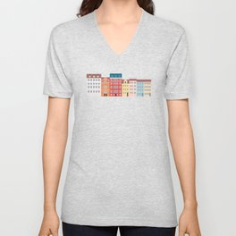 Nyhavn, Copenhagen, Denmark - South Unisex V-Neck