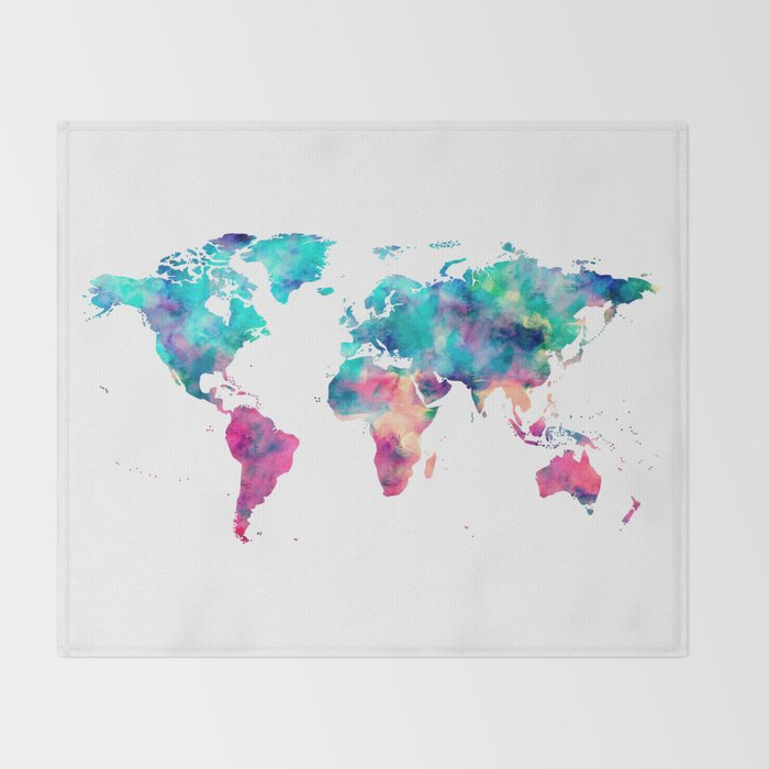 World map turquoise pink blue green throw blanket by mapmaker world map turquoise pink blue green throw blanket gumiabroncs Image collections