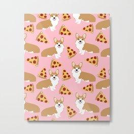 Welsh Corgi Pizza pattern funny dog art customized pet portrait children fur baby must have corgi  Metal Print