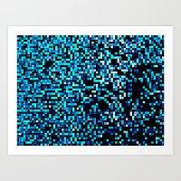 pixel art Art Prints featuring Turquoise Blue Aqua Black Pixels by 2sweet4words Designs