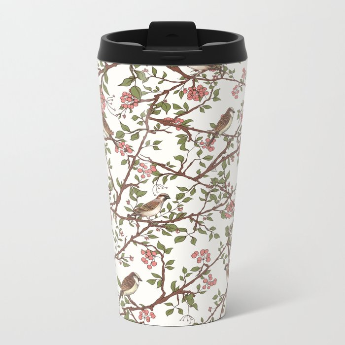 Sparrow Tree - Seamless Pattern Metal Travel Mug