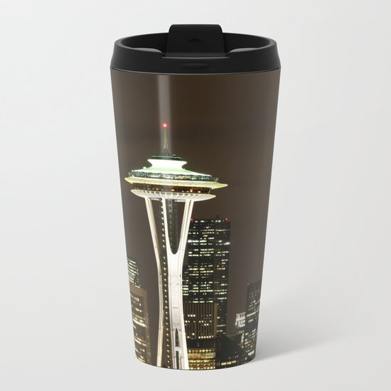 Seattle Space Needle at Night - City Lights Metal Travel Mug