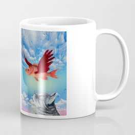 The flying fish and the amazed cat - Fantsy Coffee Mug