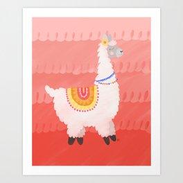 Happy Llama Art Print