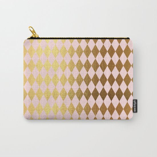 Royal gold on pink backround - Luxury geometrical pattern Carry-All Pouch