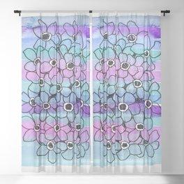 Sketch & Watercolor flowers Sheer Curtain