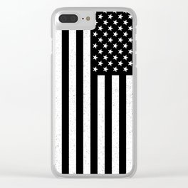 Black and White textured US flag Clear iPhone Case