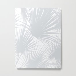 Pale Grey Tropical Leaves Metal Print