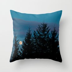 Full moon in the firs Throw Pillow