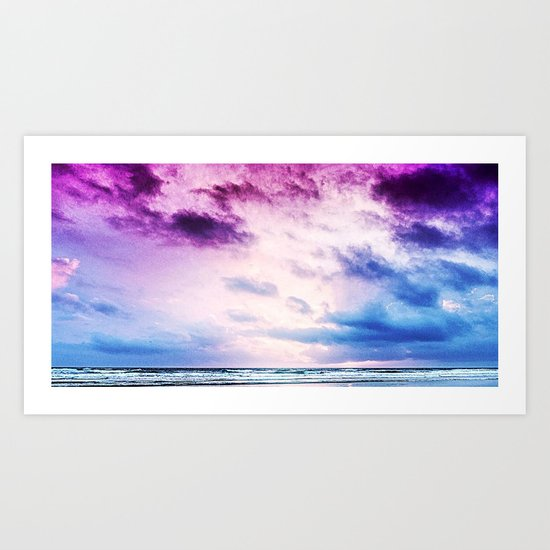 Cloudy shores Art Print