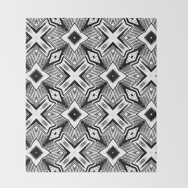 Black and White - Woodcut Etching Cross Geometric Throw Blanket