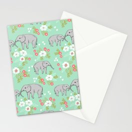 Elephants pattern mint blue with florals cute nursery baby animals lucky gifts Stationery Cards