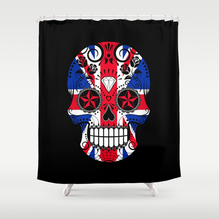 Sugar Skull With Roses And The Union Jack Flag Shower Curtain