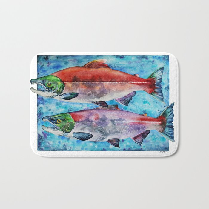 Spawning Red Salmon Bath Mat