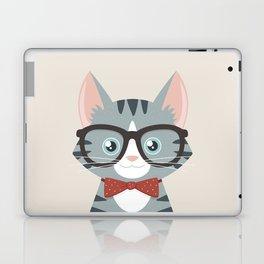 Grey Tabby Hipster Cat Laptop & iPad Skin