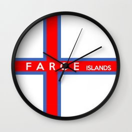 faroe islands country flag name text Wall Clock