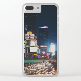 night time on the Las Vegas strip ... Clear iPhone Case
