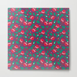 Cranberries pattern (on dark red background) Metal Print