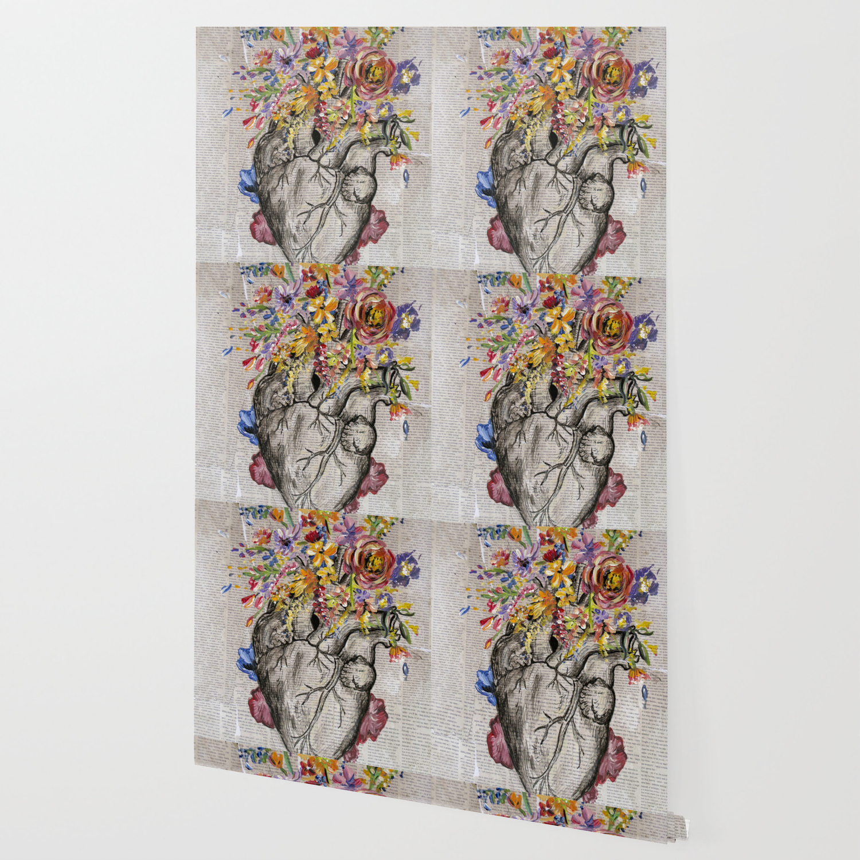 Anatomical Heart Flowers Wallpaper