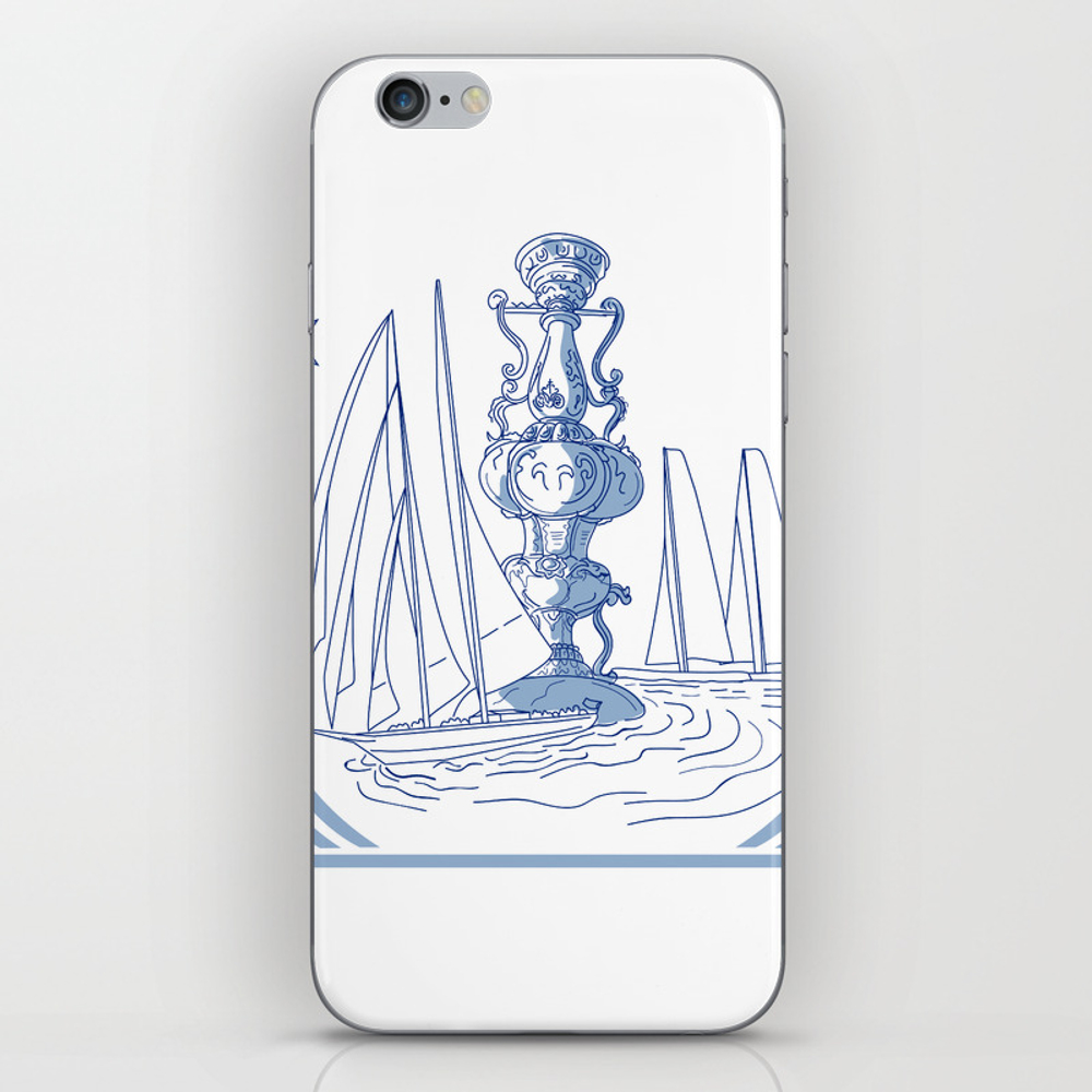 Yacht Club Racing Trophy Cup Drawing Iphone & Ipod Skin by Patrimonio PSK7819452