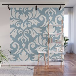 Flourish Damask Art I Cream on Blue Wall Mural