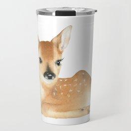 Baby Deer Watercolor Travel Mug