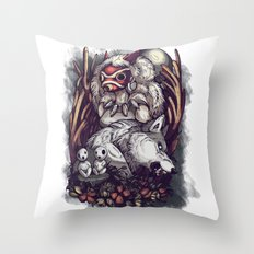 The Wolf Princess Throw Pillow