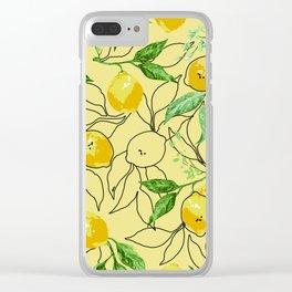 Beige lemon pattern Clear iPhone Case