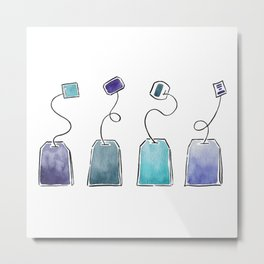 Blue tea bags Metal Print