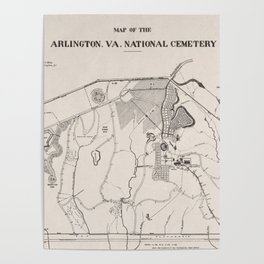 Vintage Map of Arlington National Cemetery (1901) Poster