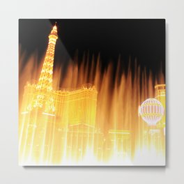 The golden fountains of Bellagio in Vegas Metal Print