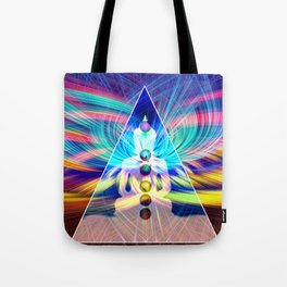 Rainbow Rays 7 Chakra Healing Meditation Tote Bag