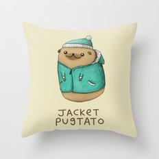 Jacket Pugtato Throw Pillow