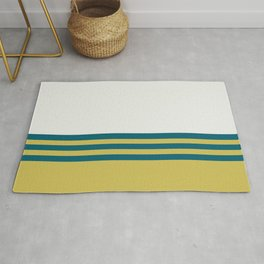 Off White, Dark Yellow and Tropical Dark Teal Inspired by Sherwin Williams 2020 Trending Color Oceanside SW6496 Straight Horizontal Triple Stripe Pattern 2 Rug