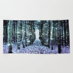 Magical Forest Lavender Aqua/Teal Beach Towel