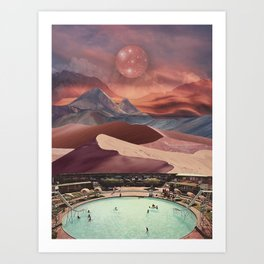Pool in the magical desert Art Print