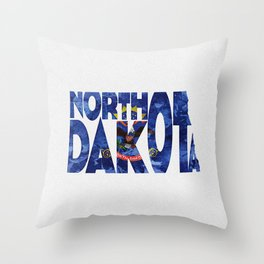 North Dakota Typographic Flag Map Art Throw Pillow