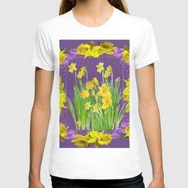 DAFFODIL SPRING GARDEN & PURPLE  DESIGN ART T-shirt