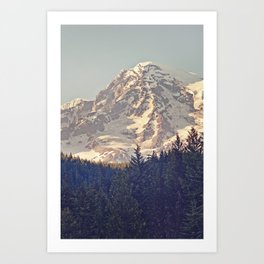 Mount Rainier Retro Art Print