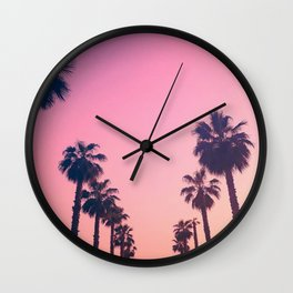 Pink Sunset at the Beach Wall Clock