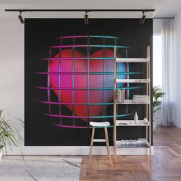 cell heart symbol on black Wall Mural