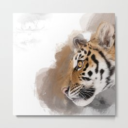 That Beautiful Bengal Tiger in Profile Metal Print