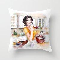 cook Throw Pillows featuring cook by tatiana-teni