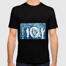 linocut trees print MEDIUM Mens Fitted Tee Black