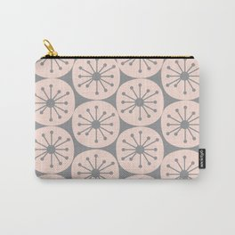 Atomic Dots Retro Midcentury Modern Pattern in Pale Blush and Light Gray Carry-All Pouch