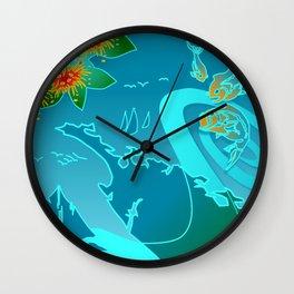 NZ Map With Pohutukawa Fish and Boats Wall Clock