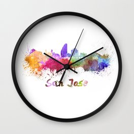 San Jose skyline in watercolor Wall Clock