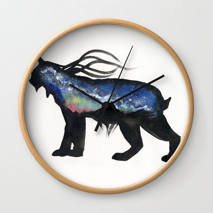 Aurora Milky Way Lynx. Wall Clock