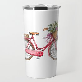 Cute watercolor vintage bike print. Travel Mug