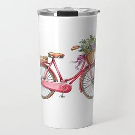 Cute watercolor vintage bike print. Travel Mug